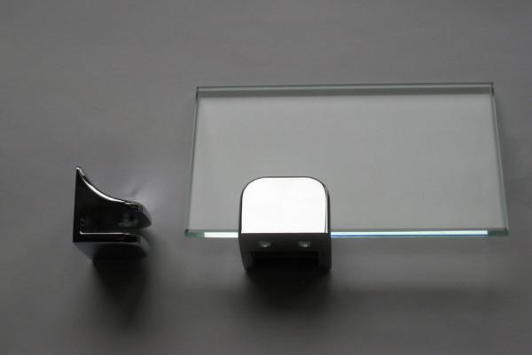 Glasplattenträger F-Form, 40 mm, für 6 - 10 mm Platten, glanzverchromt