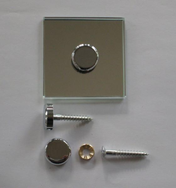 Spiegelhalterung 20 mm, mit Holzschraube 5x35 mm, für 4 - 6 mm Glas, glanzverchromt
