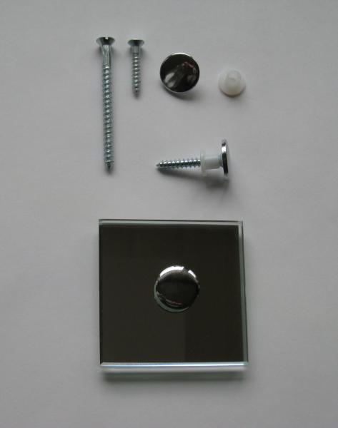Spiegelhaube flach 18 mm verchromt mit Spiegelschraube 4,5x60 mm und Schutzhülse