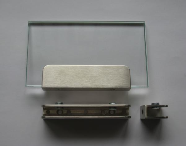 Glasplattenträger U-Form, 100 mm, für 6 - 10 mm Platten, Edelstahloptik