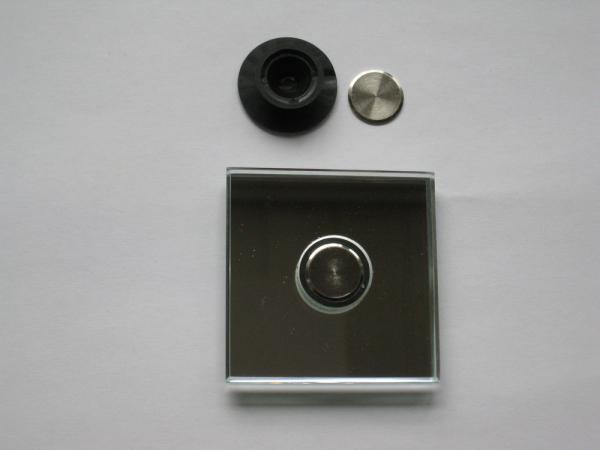Flächenbündiger Punkthalter incl. Deckscheibe vernickelt, für 10-12 mm Glas, schwarz