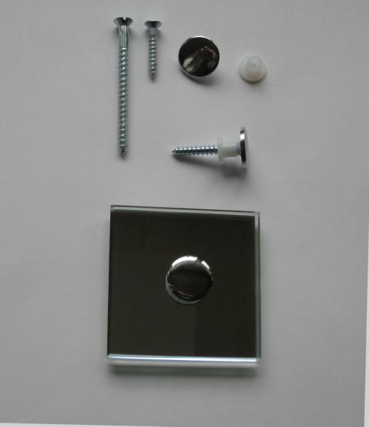Spiegelhaube flach 18 mm verchromt mit Spiegelschraube 4,5x35 mm und Schutzhülse