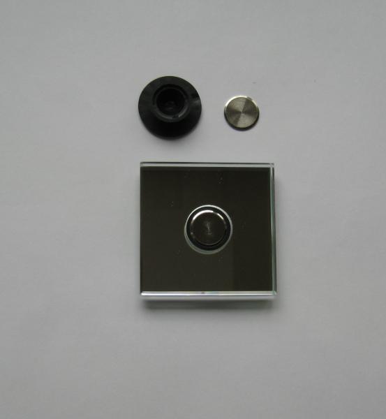 Flächenbündiger Punkthalter incl. Deckscheibe vernickelt, für 6-8 mm Glas, schwarz