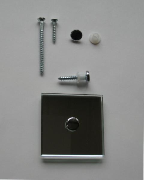 Spiegelhaube flach 12 mm verchromt mit Spiegelschraube 4,5x60 mm und Schutzhülse