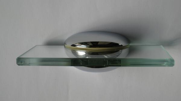 Glasplattenträger abgerundet, 74 mm, für 5 - 16 mm Platten, glanzverchromt
